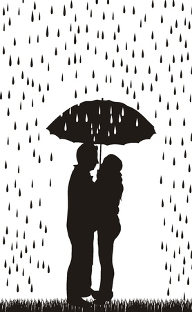 couple in rain: couple silhouette with umbrella over white background.  Illustration