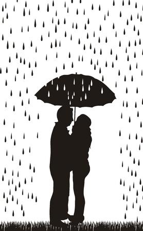 love in rain: couple silhouette with umbrella over white background.  Illustration