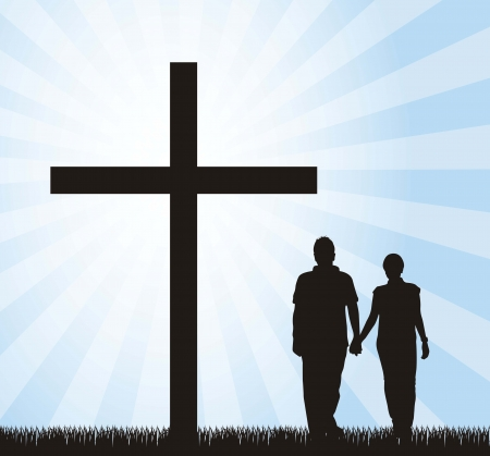 christian young: couple walking to the cross over sky background. Illustration
