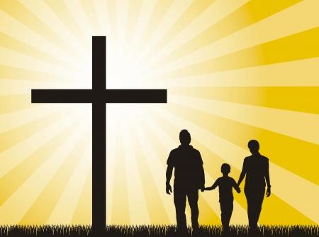 familia cristiana: familia silhuoette en la cruz sobre fondo amarillo.