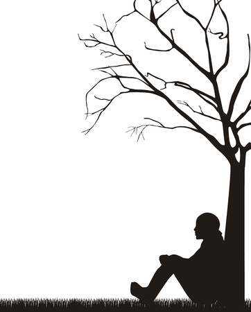 soledad: mujer sentada bajo un árbol sobre fondo blanco.