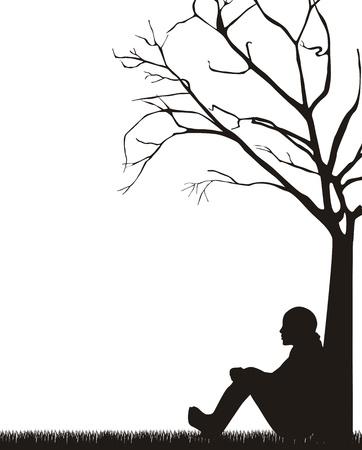 vrouw, zittend onder boom op witte achtergrond.
