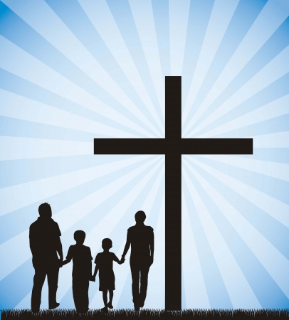 happy family outdoor: family silhouette on the cross over sky background.