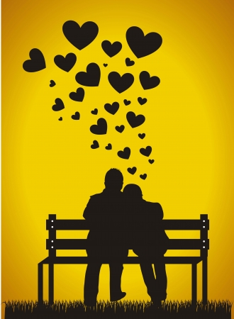 a marriage meeting: couple sitting silhouette with hearts over orange background.  Illustration