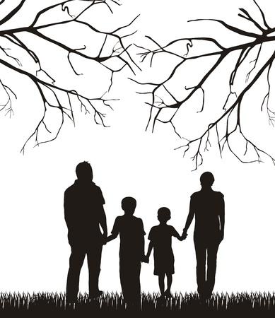 family grass: familia bajo el �rbol de silueta sobre el fondo blanco.