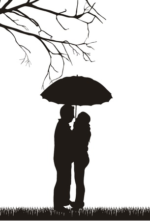 young couple kiss: couple under umbrella over white background.