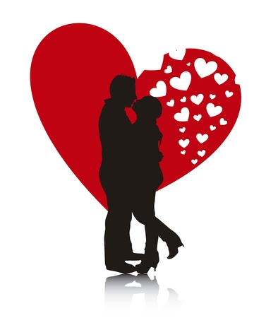couple silhouette over heart background. Vector