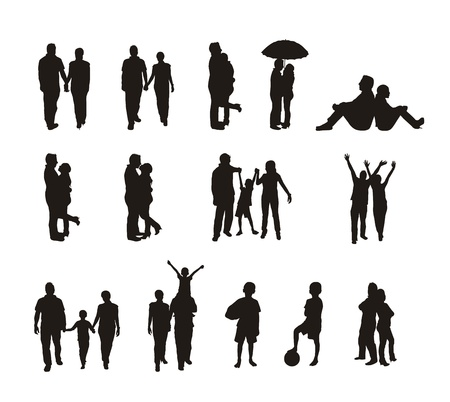 happy family outdoor: people silhouettes isolated over white background.