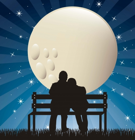 romantic date: couple silhouette in the night with moon.