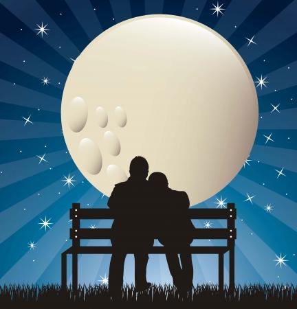 dattel: Paar Silhouette in der Nacht mit Mond.