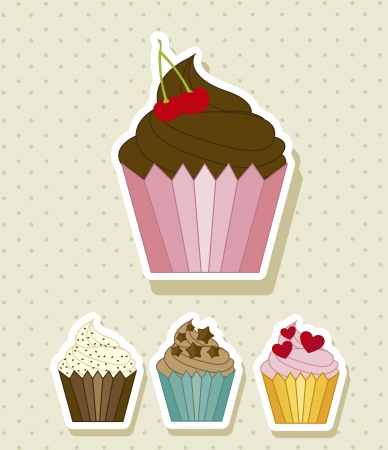 cup cakes: cup cakes sobre fondo beige.