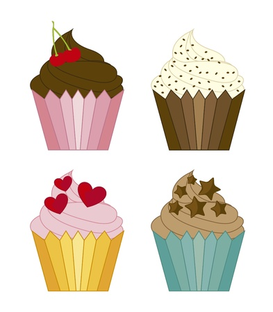 cute cup cakes isolated over white background.  Vector