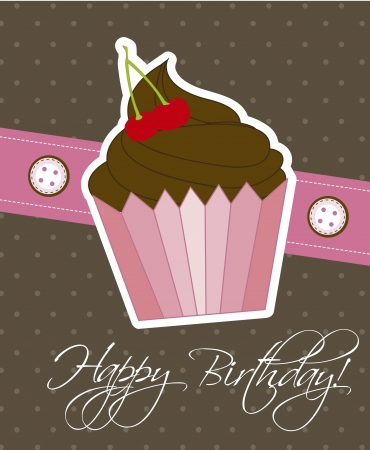 happy birthday card with cup cake.  Vector