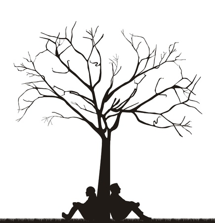 couple under tree ove white background. Stock Vector - 15787057