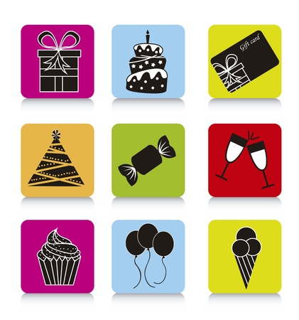 birthday icons over colorful square. Stock Vector - 15786877