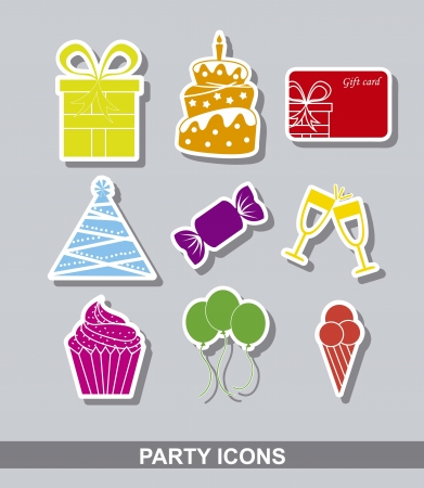 party stikers over gray background.  Vector