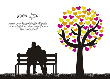 a marriage meeting: couple silhouette with love tree.  Illustration
