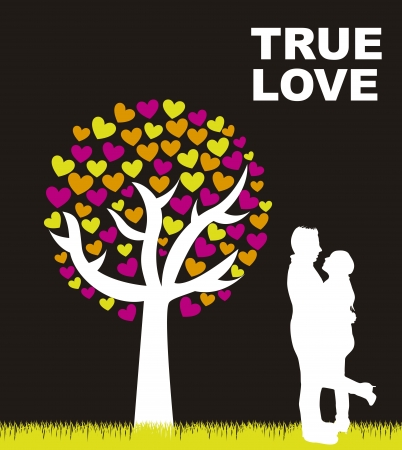 couple under tree over black background.  Vector