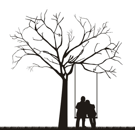 black couple under tree over swing.  Vector