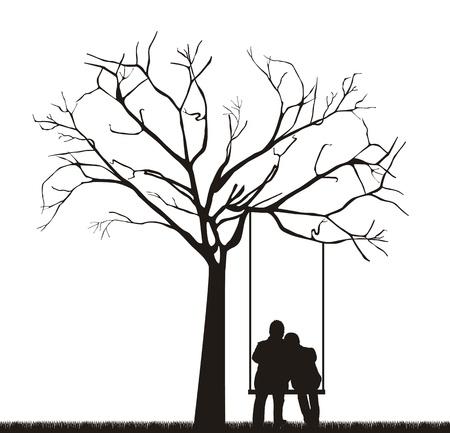 czarny para pod drzewem na huÅ›tawce.