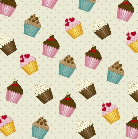 cup cakes: taza tortas patr�n, estilo vintage. Vectores