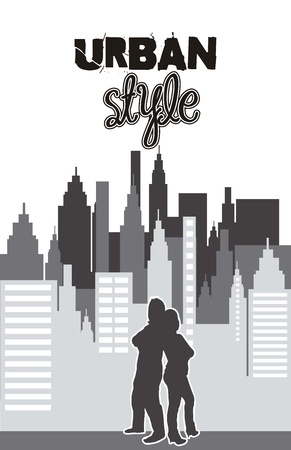 urban style: buildings with couple, urban style.