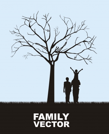 family outdoors: family under tree over sky background.