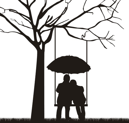 couple under tree with umbrella, white background.