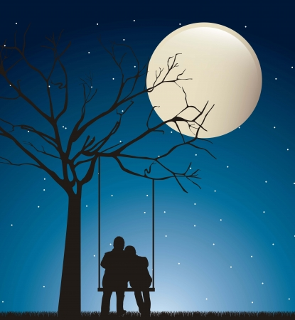 couple in the night over swing with moon.