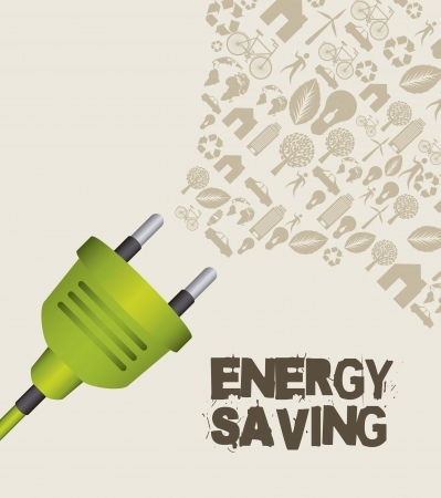 green plug with icons, energy saving.  Vector