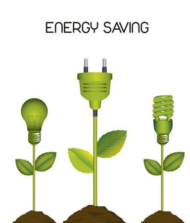 electrical cables: green electric bulb with plug, energy saving.