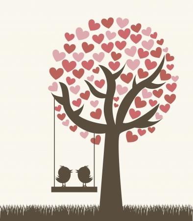 amistad: amor �rbol con dos p�jaros, estilo vintage. Vectores