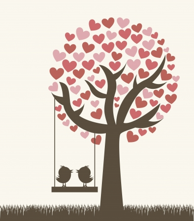 amour: love tree with two birds, vintage style.