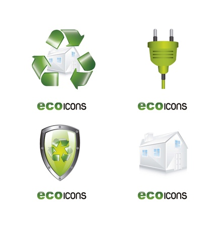 eco icons isolated over white background. Stock Vector - 15786854