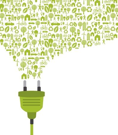 grünen Stecker mit Symbolen auf weißem Hintergrund.