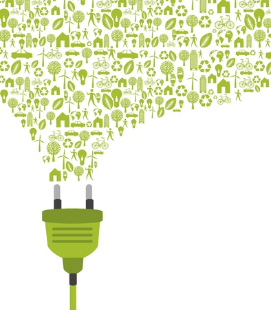 energy crisis: green plug with icons over white background.