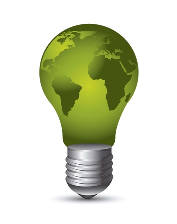 electric bulb: green electric bulb over white background. Illustration