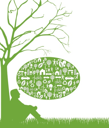 think: silhouette man over grass, thinking green.