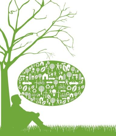 think green: silueta del hombre sobre la hierba, verde pensando. Vectores