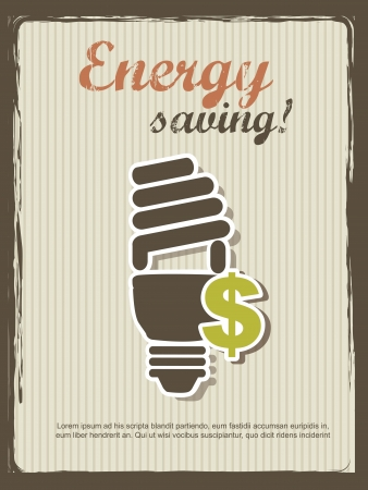 energy saving annoucement, vintage style. Vector