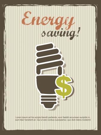 annoucement: energy saving annoucement, vintage style. Illustration