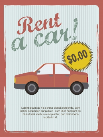 rent a car annoucement, vintage style. Vector
