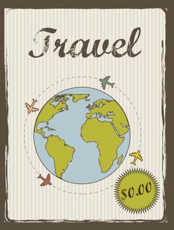 annoucement: travel annoucement annoucement, vintage style.  Illustration