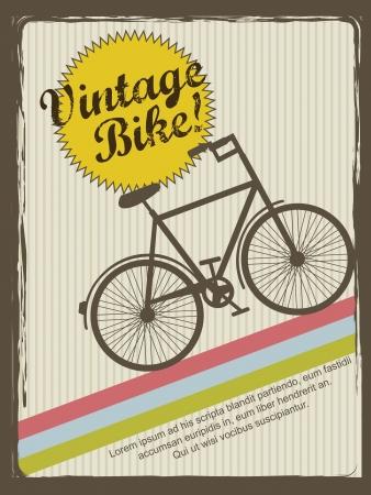 style: vintage bike annoucement, vintage style. Illustration