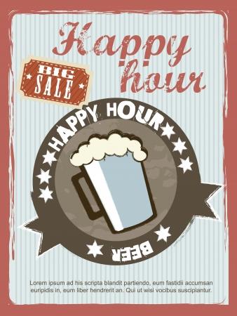 horas: anuncio de la hora feliz, estilo vintage. Vectores