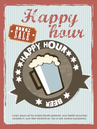 hour glasses: happy hour announcement, vintage style. Illustration