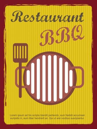 grill meat: annoucement restaurtant, style vintage. Illustration