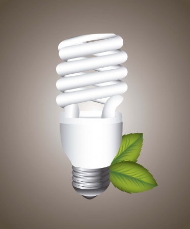 kilowatt: electric bulb with leaves over brown background.