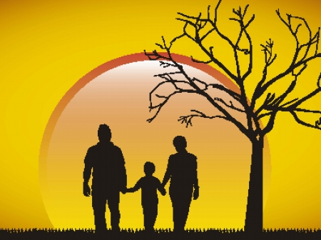 family silhouette over afternoon backrground. Vector