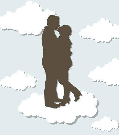 couple silhouette over clouds. Vector